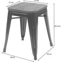 2x tabouret HHG-397 avec siège en bois, tabouret en métal, design industriel, empilable ~ gris