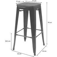 2x tabouret de bar HHG-392 avec siège en bois, chaise de comptoir, métal, design industriel, empilable ~ gris