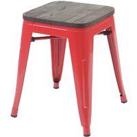 4x Tabouret HHG-771, avec siège en bois, métal, style industriel, empilable ~ rouge