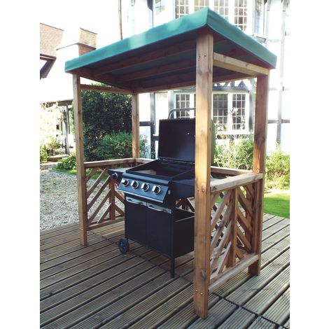 Charles Taylor BBQ Shelter Green Canopy. Fully Assembled. UK Mainland Only.10 Year Rot Free Guarantee.