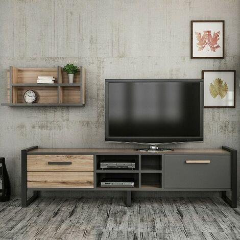 Leno Tv Schrank Modern Mit Tueren Regal Einlegeboeden Vom Wohnzimmer Nussbaum Anthrazit Schwarz Aus Holz Metall 72 X 22 X 32 Cm Hio8681285945426