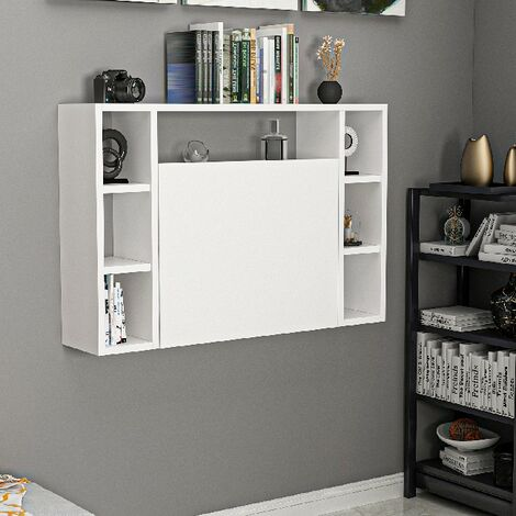 Omega Wall Folding Desk - with Shelves - for Office, Bedroom - White, made in Wood, 90 x 19,5 x 60 cm