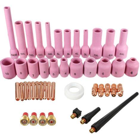 46 unids / set Kit de boquilla de alúmina para cuerpo de collar de lente de Gas TIG para antorcha de soldadura TIG SR WP-9 WP-20 WP-25