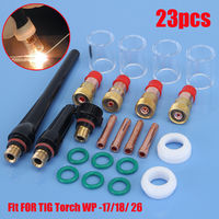 23 PCS TIG Alicates de antorcha de soldadura Boquilla de lente de gas Kit de piezas de vasos de vidrio Pyrex para SP WP-17/18/26