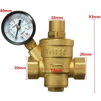 DN15 Válvula de manómetro reductor de presión de agua de latón de 1/2 '' Bspp Flujo ajustable