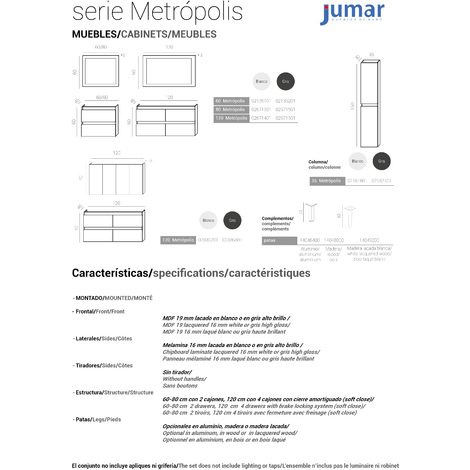 Conjunto Mueble de Baño 60 CM METROPOLIS GRIS - 2 cajones Gris, Espejo sin iluminación y lavabo cerámica