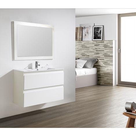 Conjunto Mueble de Baño Metrópolis 80 CM BLANCO - 2 cajones blanco, Espejo sin iluminación y lavabo cerámica