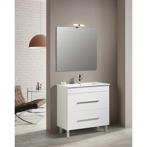 Conjunto Mueble de Baño NEREA 80 CM Blanco 2 cajones - Espejo sin iluminación y lavabo cerámica
