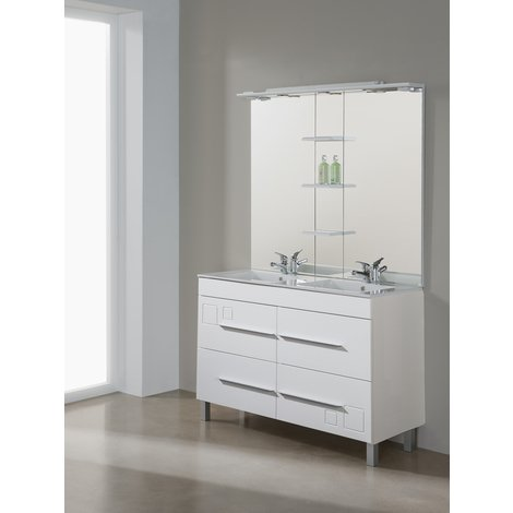 Conjunto Mueble de Baño Tania 120 cm blanco, lavabo cerámica - Jumar