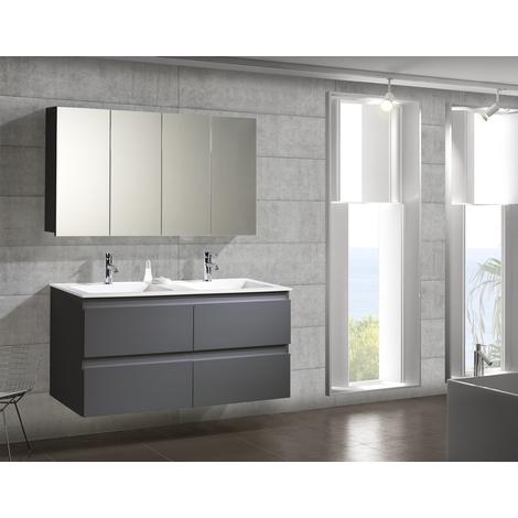 Conjunto Mueble de Baño Metrópolis 120 cm c/camerino Gris - 4 cajones, Espejo sin iluminación y lavabo cerámica