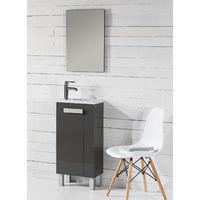Conjunto Mueble de Baño CAMILLE 40 CM Gris - con Espejo y lavabo resina