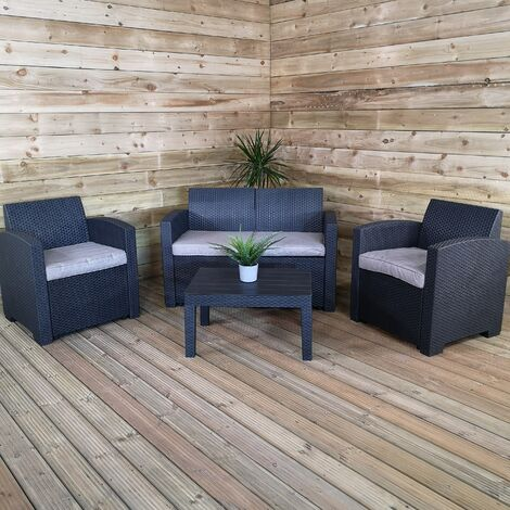 Samuel Alexander Luxury Sturdy Black Rattan Garden Sofa Set With Chairs 4 Piece Rattan Furniture Set Lounger, Includes Sofa, 2 Chairs And Coffee Table