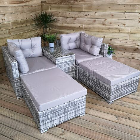 Luxury Grey Wicker Rattan Sofa Cube Garden Furniture Lounger Set With Glass Top Coffee Table