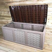 HUGE XXL 634 Litre Rattan Sit On Cushion Garden Storage Seat Decking Box In Brown