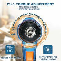 Taladro Atornillador Batería 18V, SORAKO Destornillador Eléctrico 35N.m, 2000mAh, 21+1 Ajustes de torque, 2 Velocidades Variables
