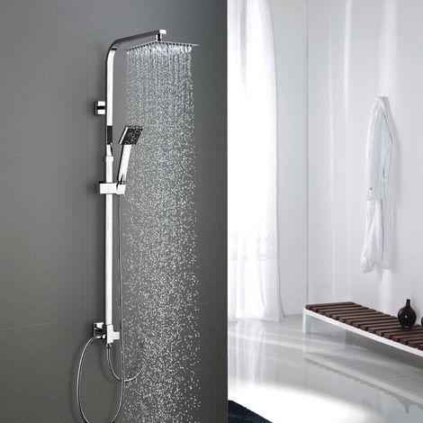 WOOHSE Duschsystem ohne Armatur, Duschkopf aus 304 Edelstahl Regendusche mit Wandhalterung, Dusche Duscharmatur Duschset inkl.verstellbare Duschstange Handbrause