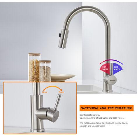 Wasserhahn Küchenarmatur Einhebelmischer Mischbatterie Armatur Küche Nickel DHL