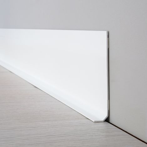 Blanche | Lot de 10 Plinthes PVC Blanches - L100xH8cm