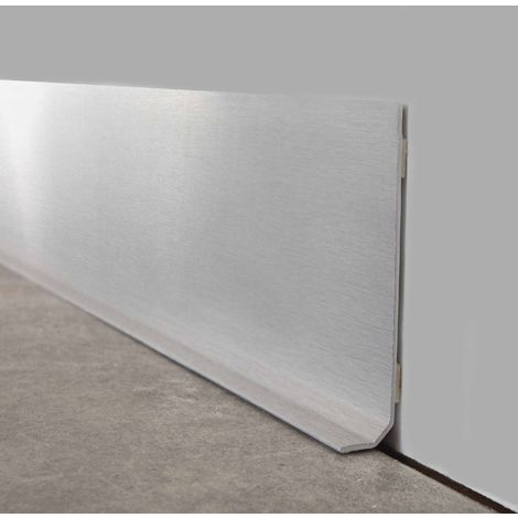 Alu Brossé | Lot de 10 Plinthes PVC Alu Brossé - L100xH8cm