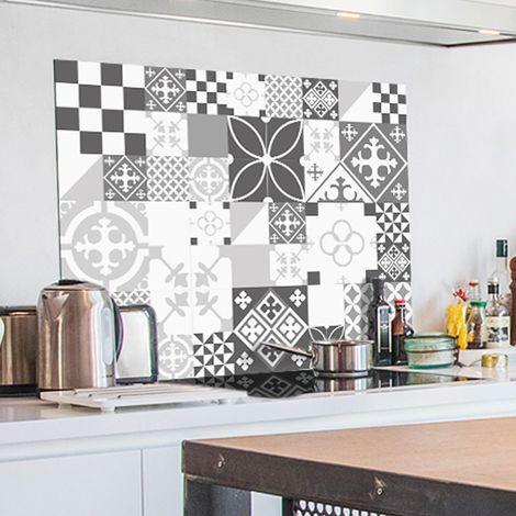 Ciment style Gris | Crédence cuisine en aluminium carreaux de ciment gris - Lot de 2 bandeaux L100xH20cm