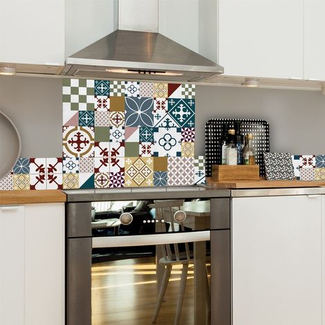 Ciment Style Colors | Crédence cuisine en aluminium carreaux de ciment multicolores - Lot de 2 bandeaux L100xH20cm