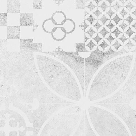 Ciment Style Béton usé | Crédence cuisine en aluminium carreaux de ciment gris usé - Lot de 2 bandeaux L100xH20cm
