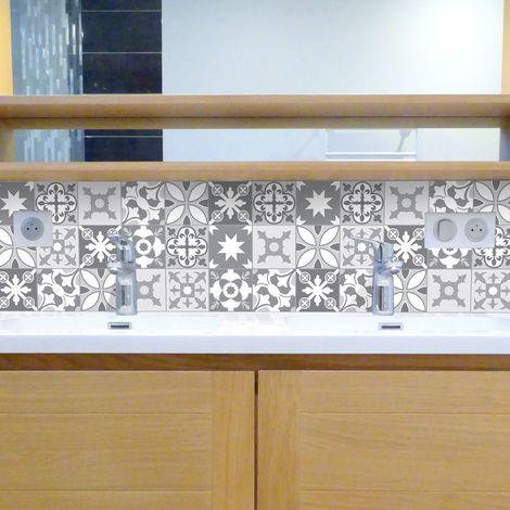Tendance Ciment gris   Crédence salle-de-bain en PVC Carreaux de ciment gris - Lot de 2 bandeaux L70xH30cm