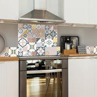 Ciment Style Pastel Rose | Crédence cuisine en aluminium carreaux de ciment pastel rose - Lot de 2 bandeaux L100xH20cm