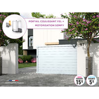 Portail coulissant YEL Blanc 9016 - L356 cm X H166 cm en aluminium motorisé Somfy AUTOUR DU PORTAIL