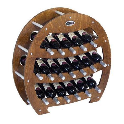 Cantinetta Portabottiglie in Legno Scaffale mobile per Bottiglie vino MADE IN ITALY mod. Botte Noce B.18 L75 x P25 x 75H