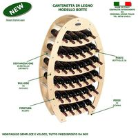 Cantinetta Portabottiglie in Legno Scaffale mobile per Bottiglie vino MADE IN ITALY mod. Botte Noce B.36 L75 x P25 x 120H