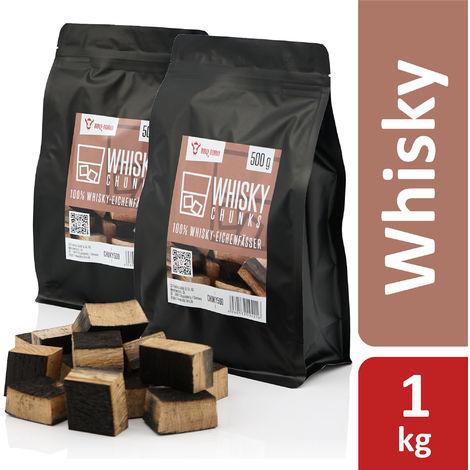 BBQ-Toro Whisky Smoked Chunks | 1 kg | Smoking Blocks for Gas Grill, Smoker, BBQ
