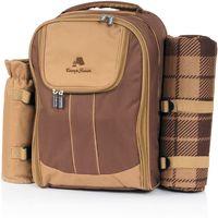 CampFeuer picnic backpack 4 people, brown, bottle bag + blanket