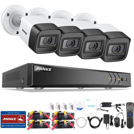 ANNKE CCTV Camera System 8-Channel Ultra HD 4K H.265 DVR and 4×4K HD Weatherproof Cameras with EXIR LED IR Night Vision, Email Alert with Snapshots, Remote Access – 0TB HDD