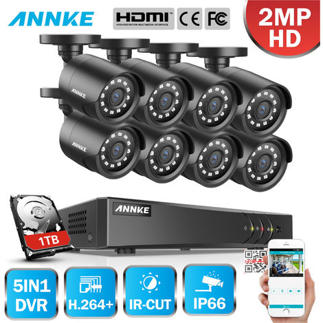 ANNKE 8CH 1080P LiteCCTV System 1080P DVR Kit 8pcs 2.0MP Outdoor Security Cameras System IR night Video Surveillance Kit Black ヨ 1T hard drive