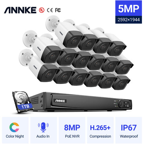ANNKE 5MP 16CH Network POE CCTV Security Systems with 16pcs Super HD 5MP POE Cameras ヨ 1TB