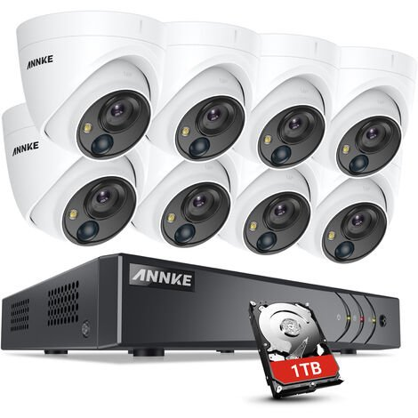 ANNKE H.265+ 5MP Ultra HD 8CH DVR CCTV Security System 8PCS IP67 Weaterproof Outdoor 5MP Camera Video Surveillance Kit ヨ 1TB Hard Drive Included