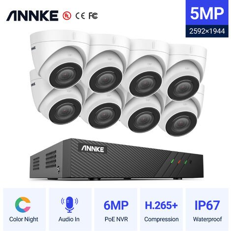 ANNKE 5MP H.265+ Super HD PoE Network Video Security System 8pcs Waterproof Outdoor POE IP Cameras White Dome PoE Camera Kit without Hard Drive