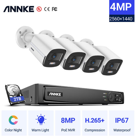 ANNKE 8CH 8MP Ultra HD PoE Network Video Security System H.265 Surveillance NVR 4x4MP HD IP67 Full Color POE Cameras NVR Kit with 2T Hard Drive