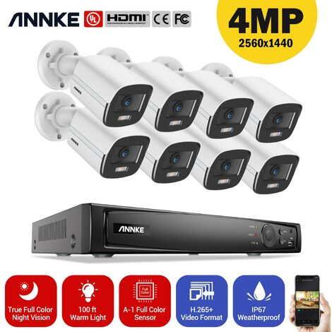 ANNKE 8CH 8MP Ultra HD PoE Network Video Security System H.265 Surveillance NVR 8x4MP HD IP67 Full Color POE Cameras NVR Kit with 0T Hard Drive
