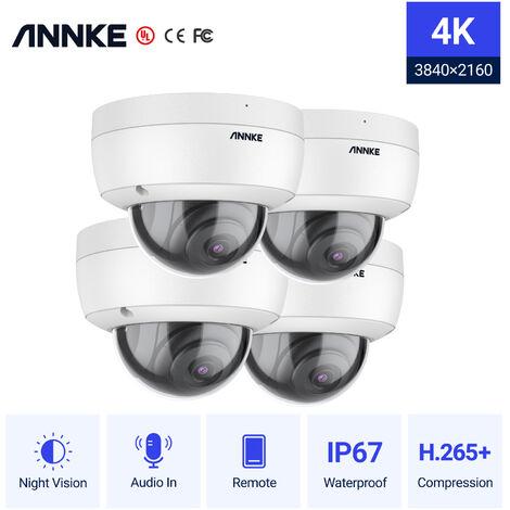 ANNKE 4PCS 4K 8MP PoE Ultra HD Dome CCTV IP Security Camera H.265 100 ft Starlight Smart EXIR Night Vision IP67 Weatherproof Outdoor/Indoor Surveillance Camera