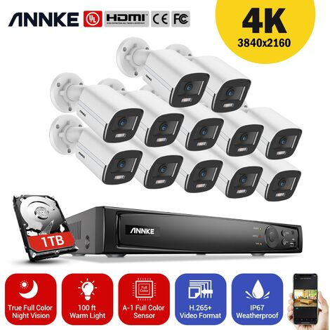 ANNKE 16CH 8MP Ultra HD PoE Network Video Security System H.265 Surveillance NVR 12x4MP HD IP67 Full Color POE Cameras NVR Kit with 1T Hard Drive