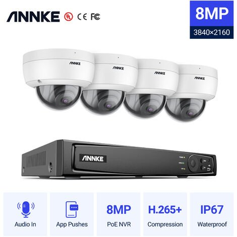 ANNKE 8MP 4K HD PoE ONVIF NVR Security Camera System with H.265+ Coding 4K Wired HD Outdoor Indoor Cameras IK10 Vandal-Proof Audio Recording Supports 256 GB TF Card 4 Camera – No HDD