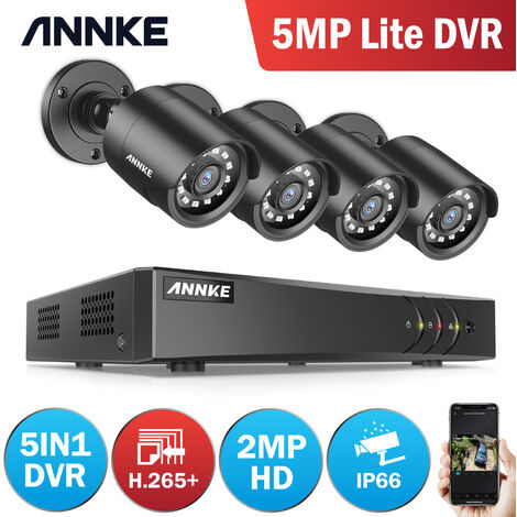 ANNKE 4CH HD H.265+ 5MP Lite DVR Video Security System 4x 2MP Indoor/Outdoor Weatherproof Bullet Cameras - NO HDD