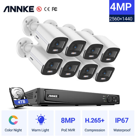 ANNKE 4K Ultra HD PoE NVR System with 4MP Super HD Full Color Night Vision H.265+ Bullet IP Security Camera for Outdoor Home CCTV Videosurveillance Kits 8 Cameras – 4TB HDD