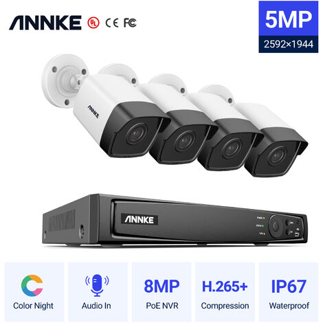 ANNKE 5MP PoE IP Security Camera System with ONVIF Bullet Cameras 8CH 4K NVR 100 ft Color Night Vision for Outdoor Indoor CCTV Surveillance Kits 4 Cameras - No HDD