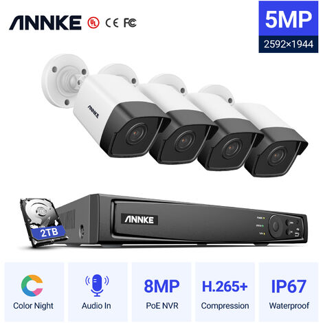 ANNKE 5MP PoE IP Security Camera System with ONVIF Bullet Cameras 8CH 4K NVR 100 ft Color Night Vision for Outdoor Indoor CCTV Surveillance Kits 4 Cameras – 2TB HDD