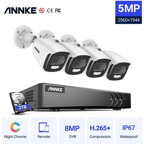 ANNKE 5MP Super HD True Full Color Night Vision Security Camera For Outdoor Indoor CCTV Surveillance Kits 4 Cameras – 2TB HDD