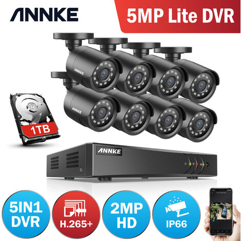 ANNKE 8Channel HD-TVI 1080P Lite Video Security System DVR and 8 Indoor/Outdoor Weatherproof Cameras with IR Night Vision LEDs - 1TB HDD