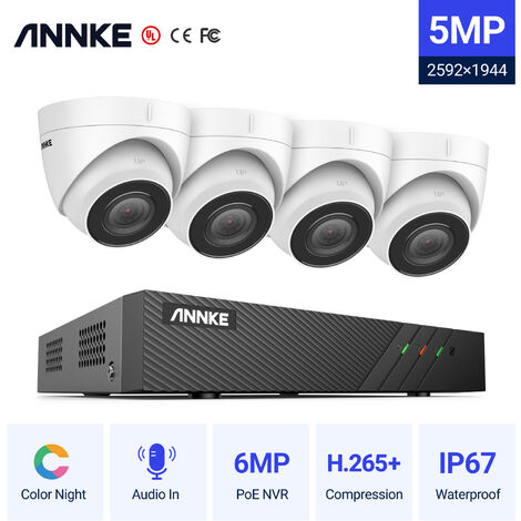 ANNKE 5MP PoE IP Security Camera System With ONVIF Turret Cameras 6MP 8CH NVR 100 ft Color Night Vision For Outdoor Indoor CCTV Surveillance Kits 4 Cameras - No HDD